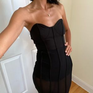 Sheer body suit cage dress 🖤